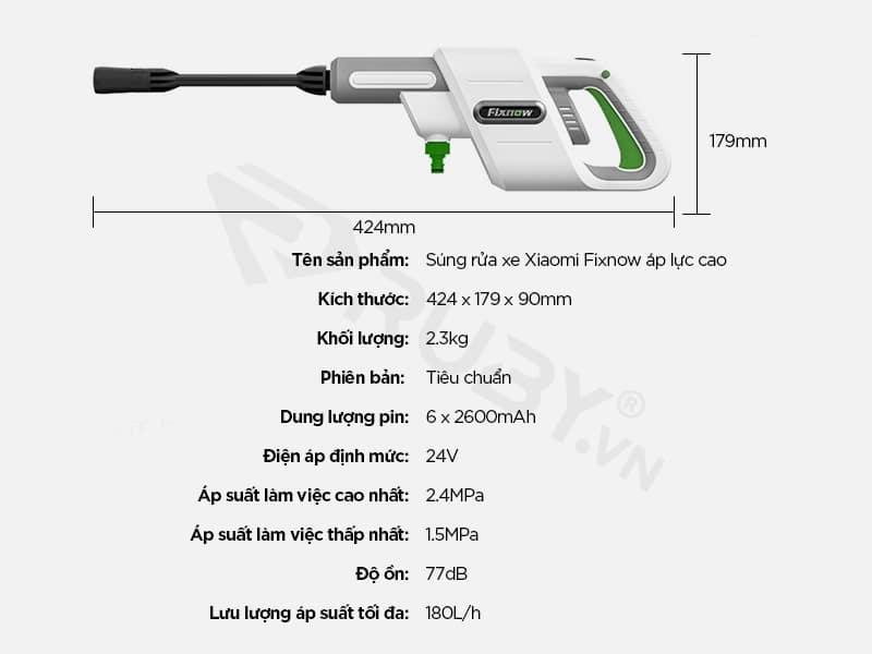 Thông số kỹ thuật Súng rửa xe áp lực cao Xiaomi Fixnow XYQX-300E