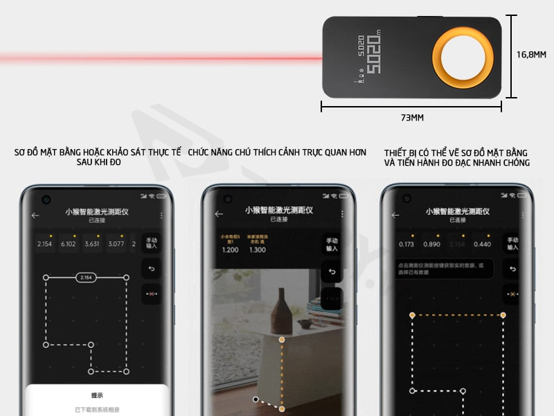 Cấu tạo chi tiết thước đo laser thông minh Xiaomi Hoto 30m