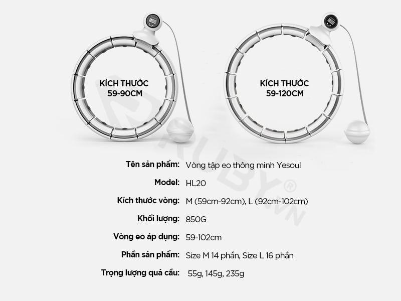 Thông số kỹ thuật Vòng lắc eo thông minh Xiaomi Yesoul HL20