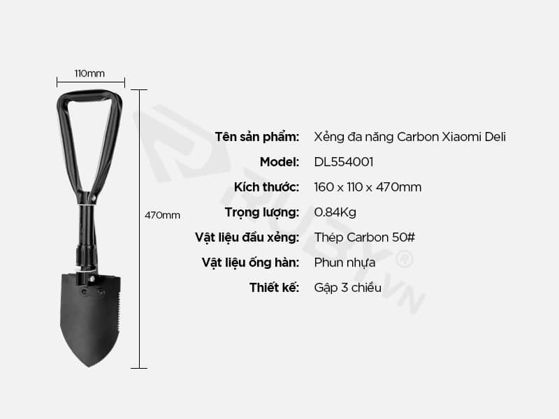 Thông số kỹ thuật xẻng đa năng Carbon Xiaomi Deli DL554001