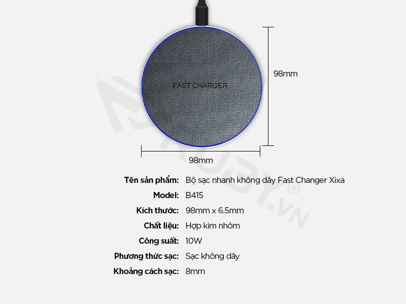 thông số kỹ thuật Bộ sạc nhanh không dây Fast Changer Xixa B415