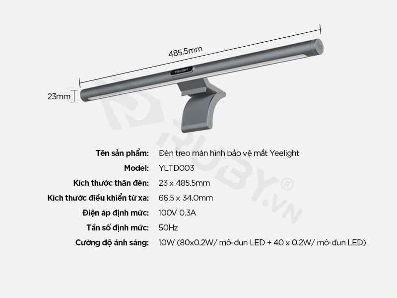 Thông số kỹ thuật Đèn treo màn hình bảo vệ mắt Xiaomi Yeelight YLTD003
