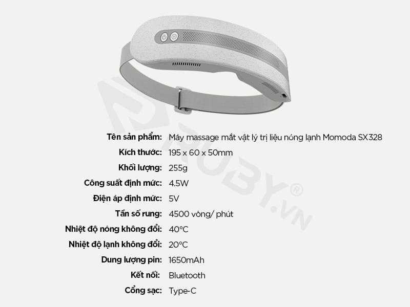 Thông số kỹ thuật Máy massage mắt vật lý trị liệu nóng lạnh Xiaomi Momoda SX328