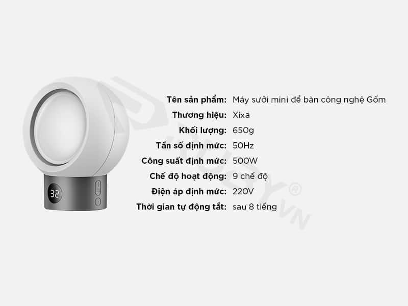 Thông số kỹ thuật Máy sưởi mini để bàn công nghệ gốm Xixa
