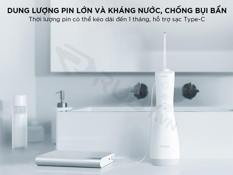Máy tăm nước Xiaomi có dung lượng pin lớn