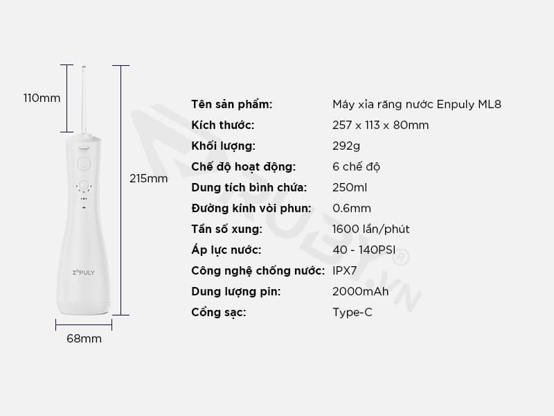 Thông số kỹ thuật Máy tăm nước Xiaomi Enpuly ML8