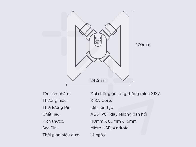 Thông số Đai đeo chống gù lưng Xixa